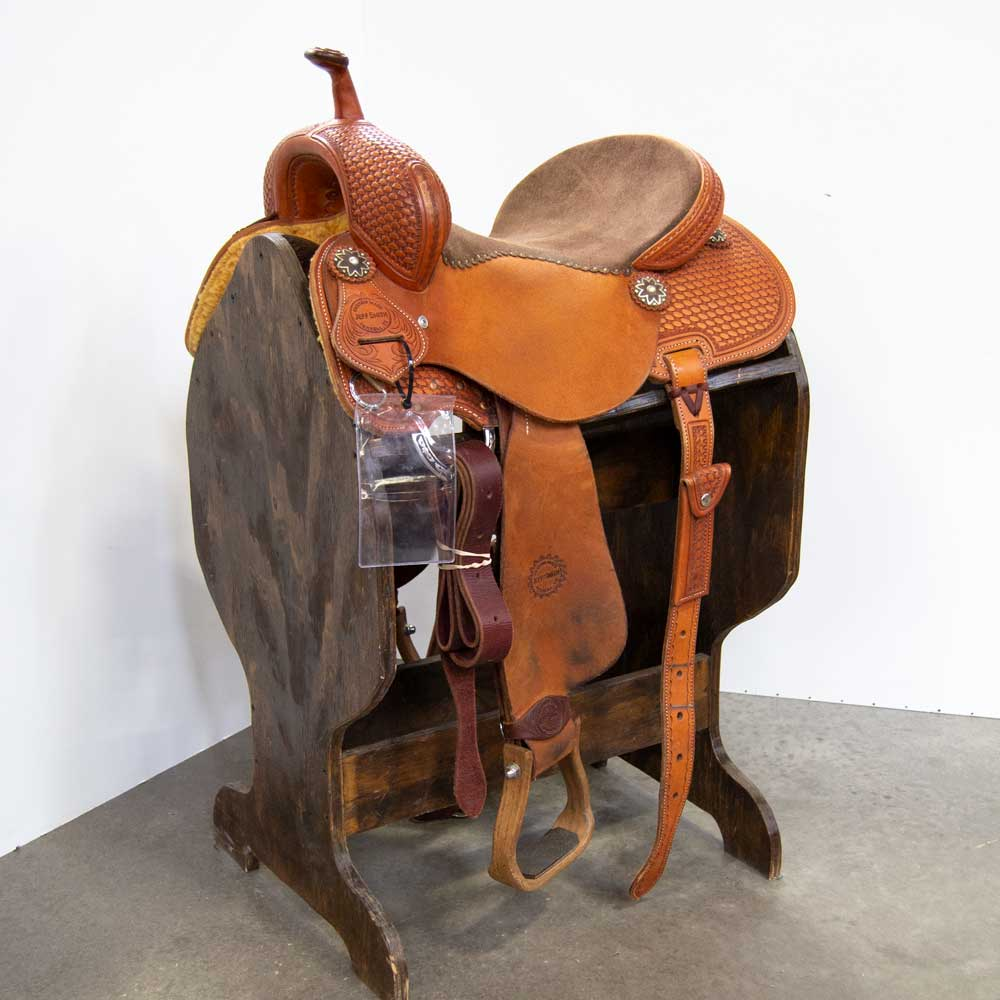 "14"" USED JEFF SMITH WIDE FIT BARREL SADDLE Saddles - Used Saddles - BARREL Jeff Smith Teskeys"