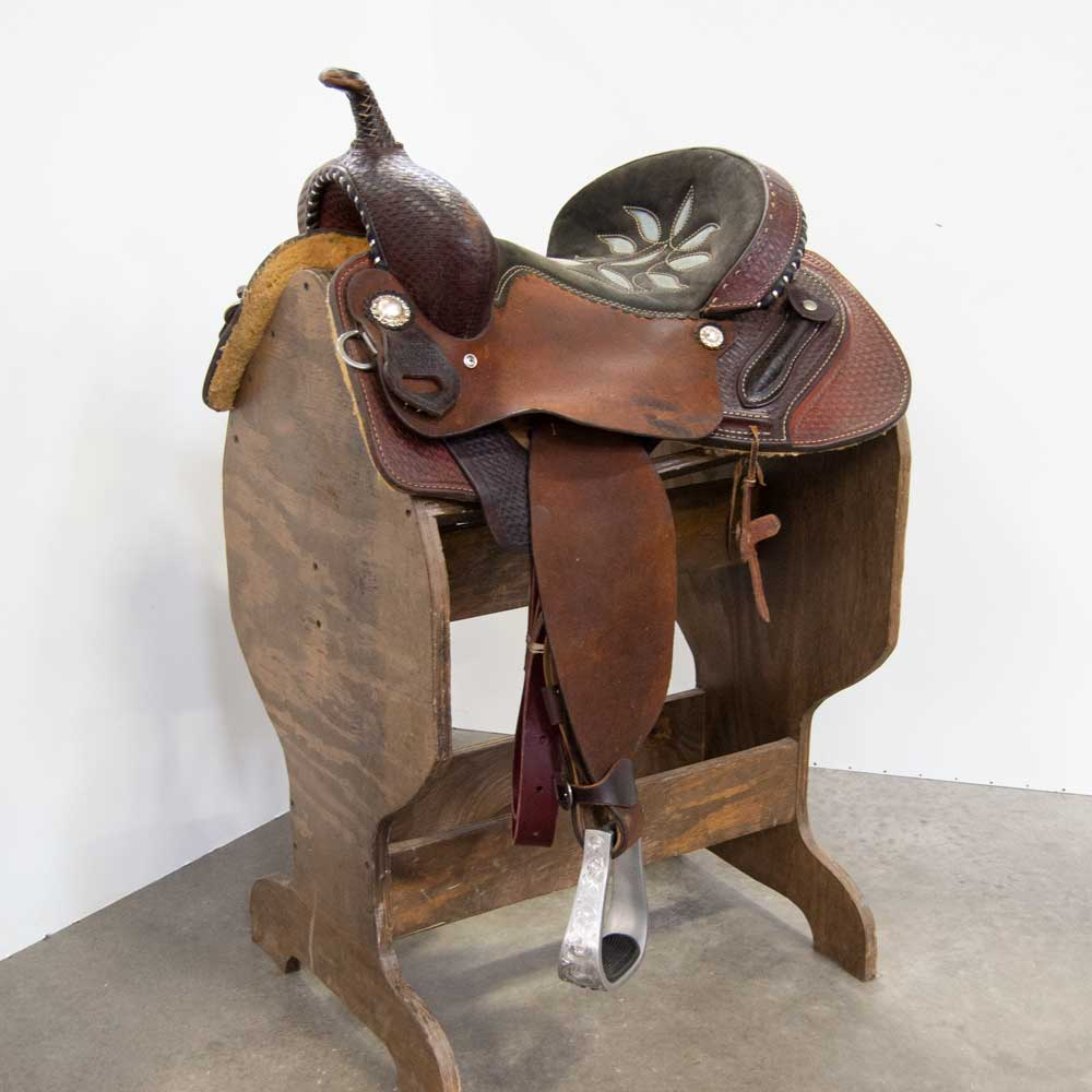 "14.5"" USED DOUBLE J LYNN MCKENZIE SPECIAL BARREL SADDLE"