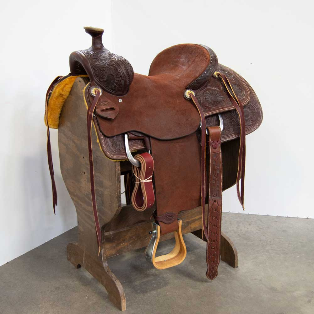 "15"" USED AUSTIN VALIMONT RANCH ROPING SADDLE"