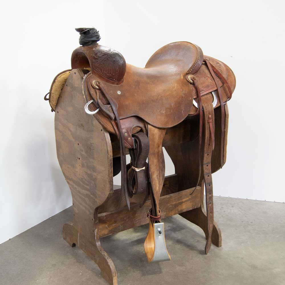 "16"" USED JEFF SMITH RANCH SADDLE Saddles - Used Saddles - RANCH Jeff Smith Teskeys"