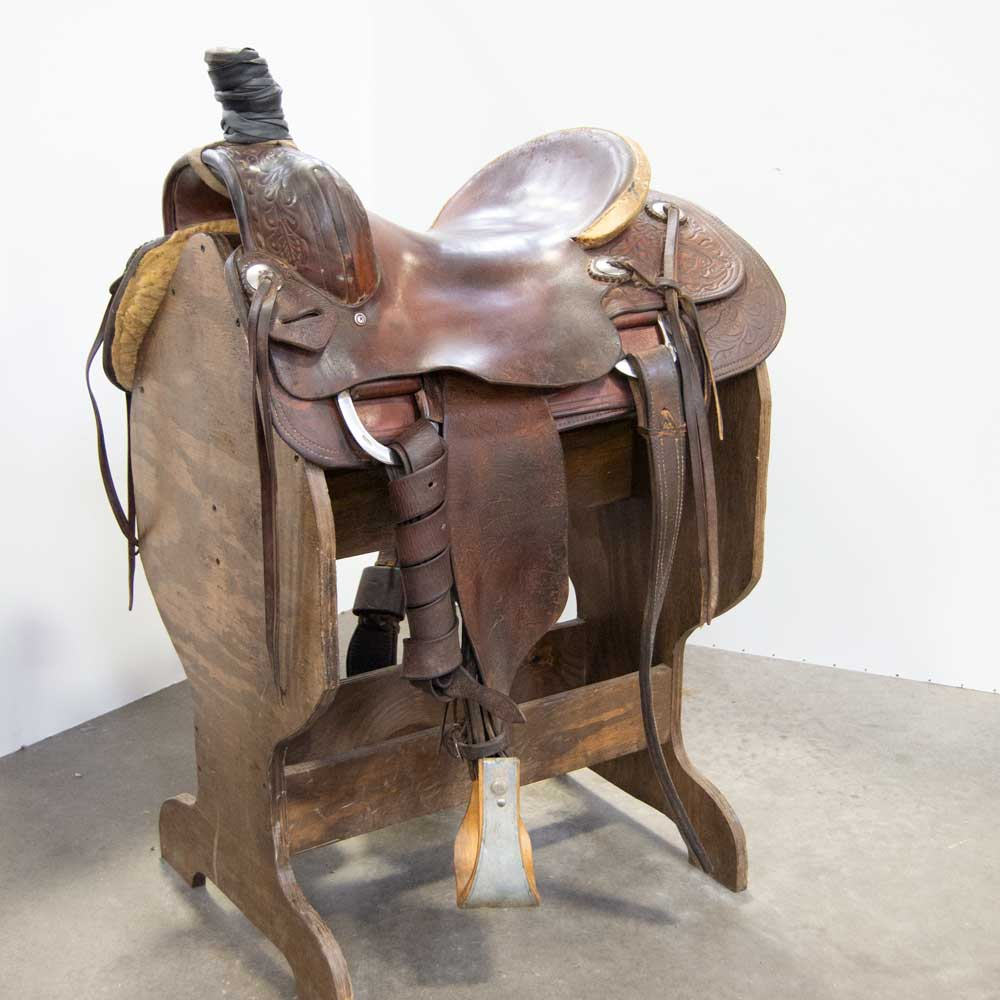 "15.5"" USED STEVENSON ROPING SADDLE Saddles - Used Saddles - ROPER Stevenson Teskeys"