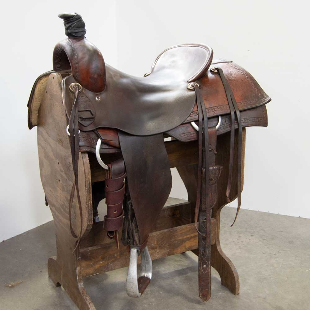 "16.5"" USED ROPING SADDLE Saddles - Used Saddles - ROPER SHOPMADE Teskeys"