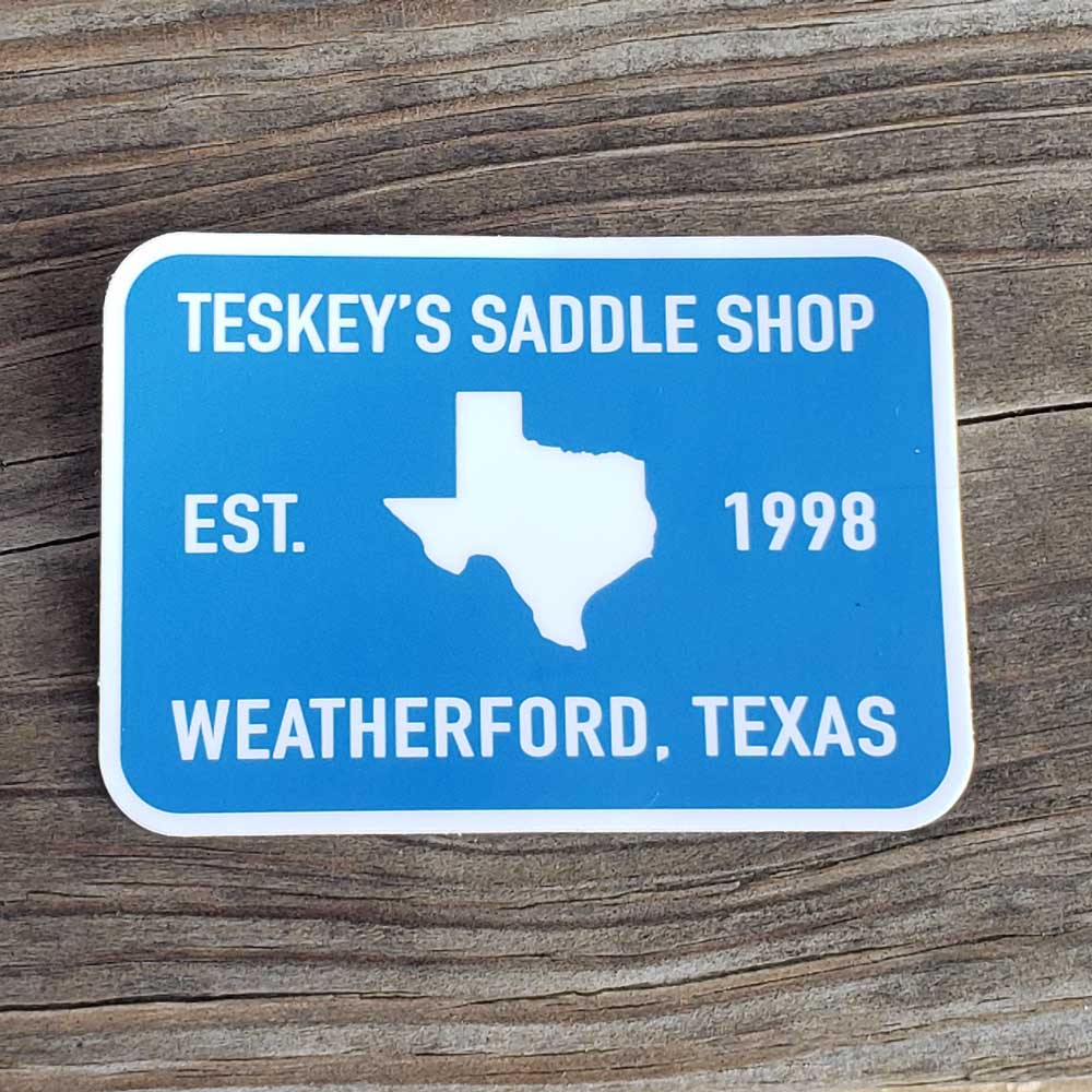 Teskey's 1998 Saddle Shop Sticker Blue/White TESKEY'S GEAR - Stickers Sticker Mule Teskeys