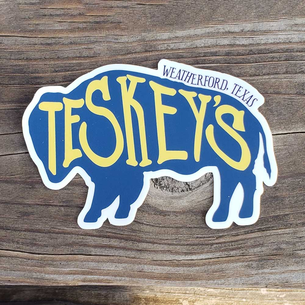 Teskey's Buffalo Die-Cut Vinyl Sticker - Blue/Yellow TESKEY'S GEAR - Stickers Sticker Mule Teskeys