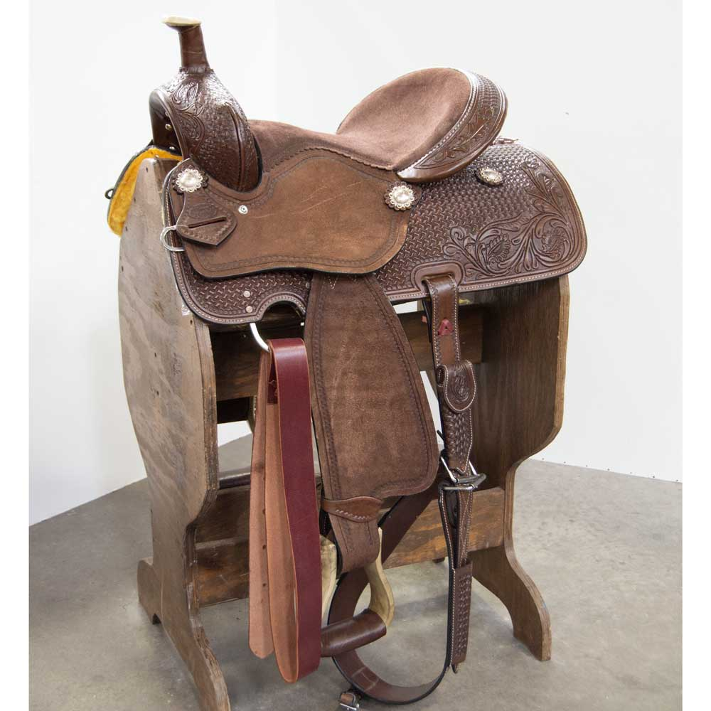 """Calamity Jane"" 15"" Barrel Saddle Saddles - New Saddles - BARREL Silver Royal Teskeys"