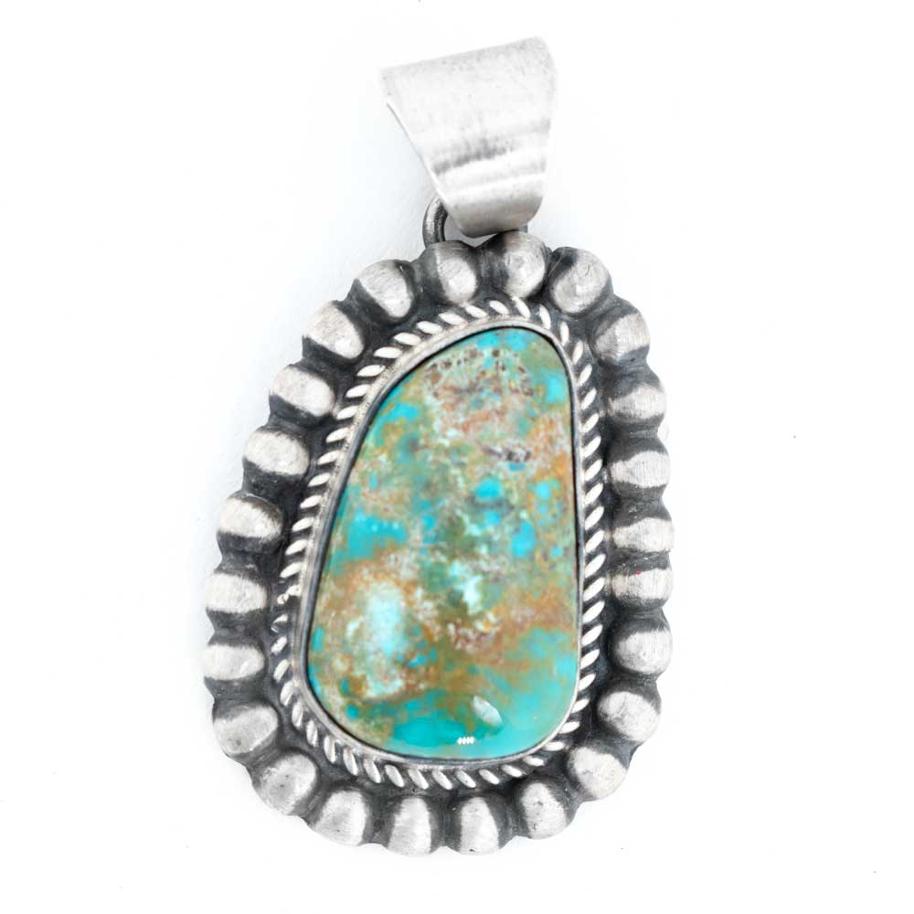 Large Stamped Edge Turquoise Pendant WOMEN - Accessories - Jewelry - Pendants SUNWEST SILVER Teskeys