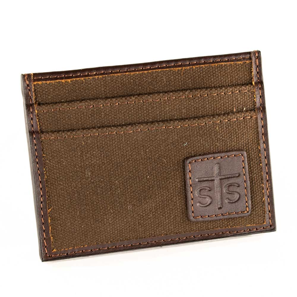 STS Ranchwear Chocolate Canvas Card Wallet MEN - Accessories - Wallets & Money Clips STS Ranchwear Teskeys