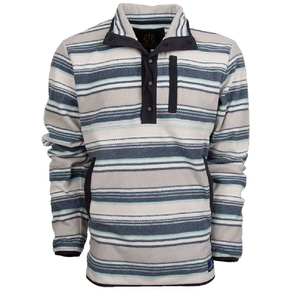 STS Ranchwear Navy Stripe 1/4 Zip Fleece Pullover MEN - Clothing - Pullovers & Hoodies STS Ranchwear Teskeys