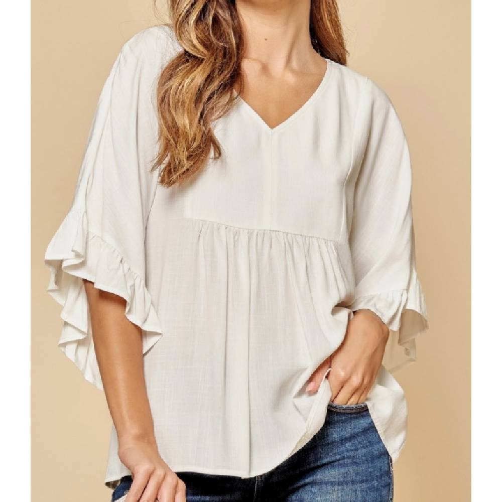 Women's Short Sleeve Ivory Top WOMEN - Clothing - Tops - Short Sleeved ANDREE BY UNIT FASHION Teskeys