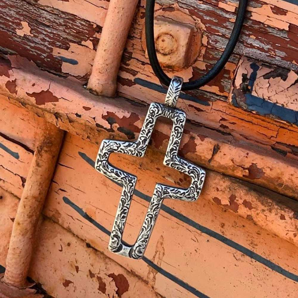 Hammered Cross Rope Necklace WOMEN - Accessories - Jewelry - Necklaces M&F Western Products Teskeys