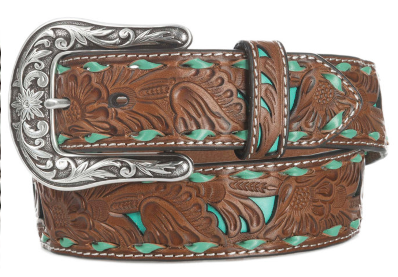 Nocona Ladies Embossed Inlay Belt WOMEN - Accessories - Belts M&F WESTERN PRODUCTS Teskeys