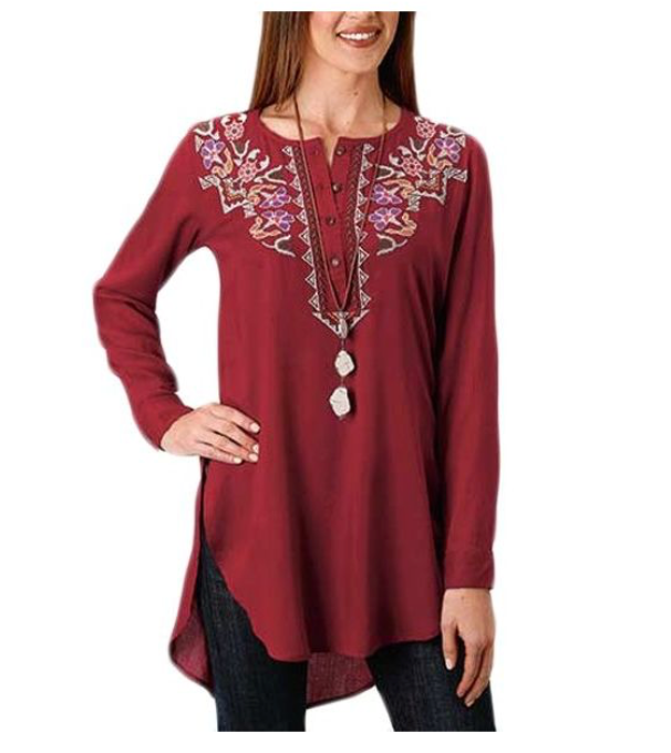 Roper Ladies Challis Tunic - Size Small WOMEN - Clothing - Tops - Long Sleeved ROPER APPAREL & FOOTWEAR Teskeys