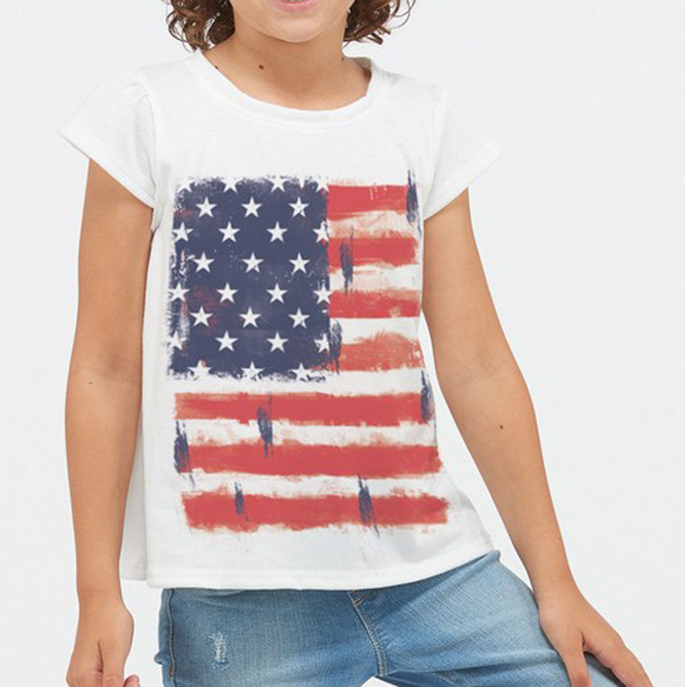 Girls Short Sleeve American Flag Tee KIDS - Girls - Clothing - T-Shirts Phil Love Teskeys