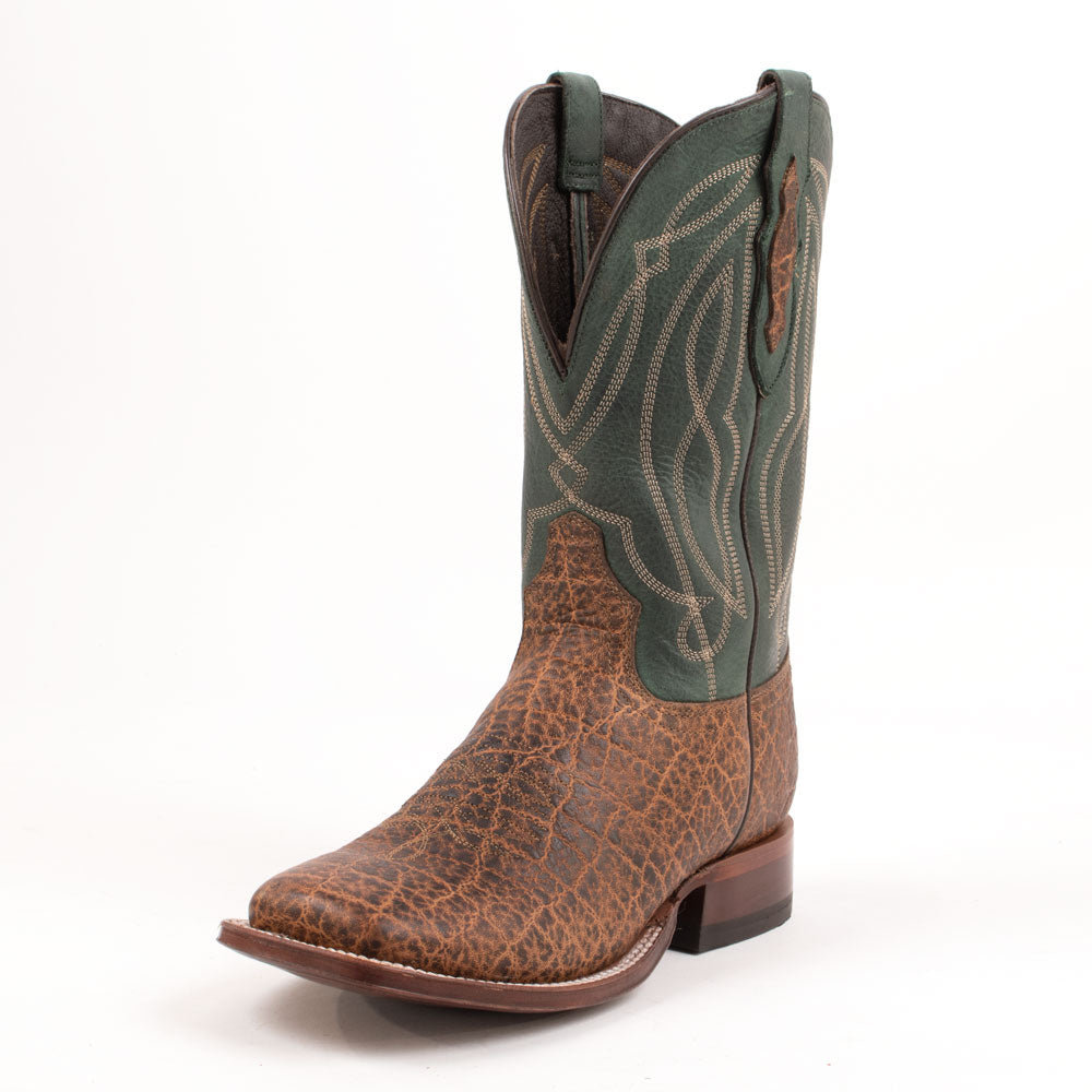 Tony Lama Tapadera Brown & Military Green Boot MEN - Footwear - Exotic Western Boots TONY LAMA BOOTS Teskeys