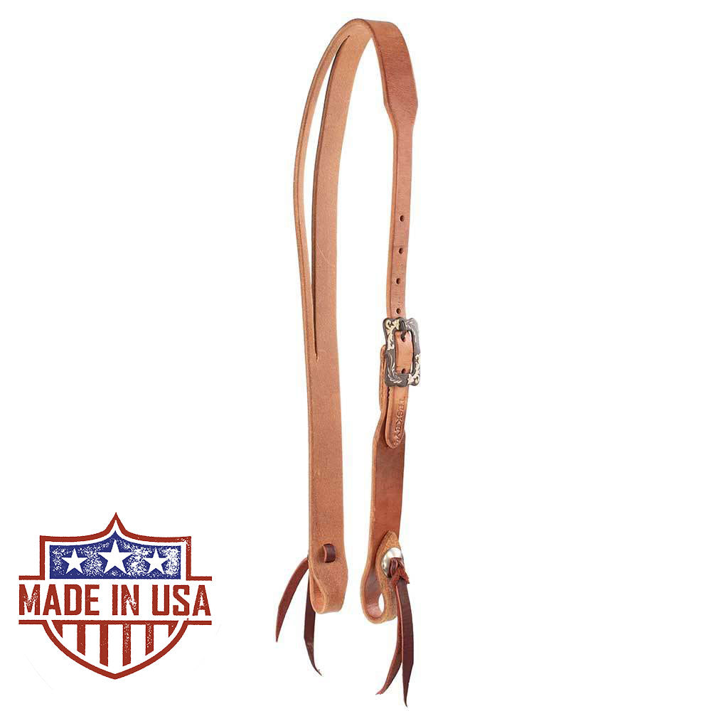 Teskey's Herman Oak Split Ear Headstall with Square Buckle Tack - Headstalls Teskey's Teskeys