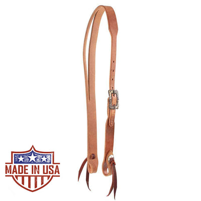 Teskey's Herman Oak Split Ear Headstall with Square Buckle Tack - Headstalls - One Ear Teskey's Teskeys