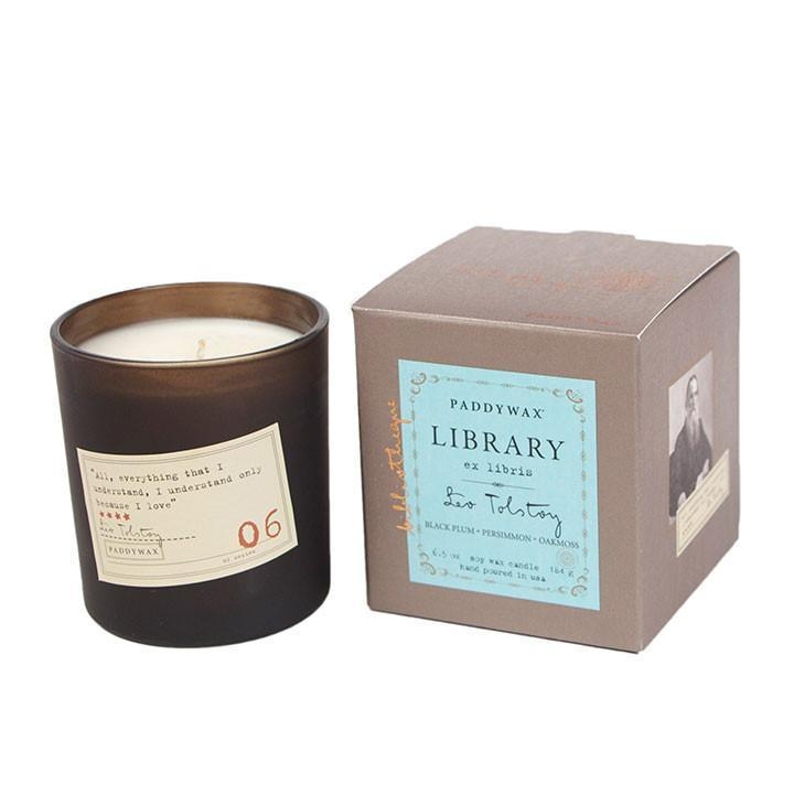 Paddywax Library Series 6oz Candle - Leo Tolstoy HOME & GIFTS - Home Decor - Candles + Diffusers Paddywax Teskeys