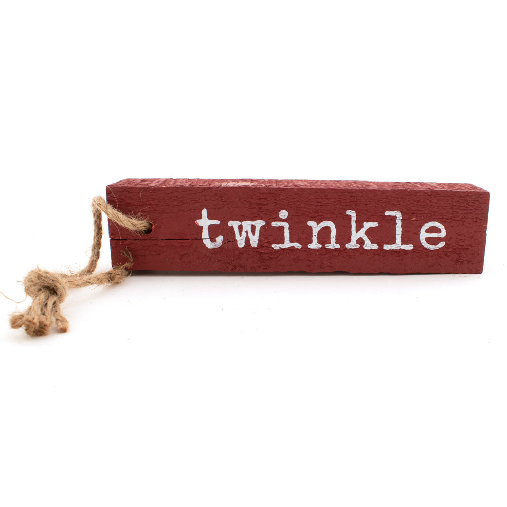 "Rectangle 8"" Wood Christmas Ornament - Twinkle HOME & GIFTS - Home Decor - Seasonal Decor Creative Co-Op Teskeys"