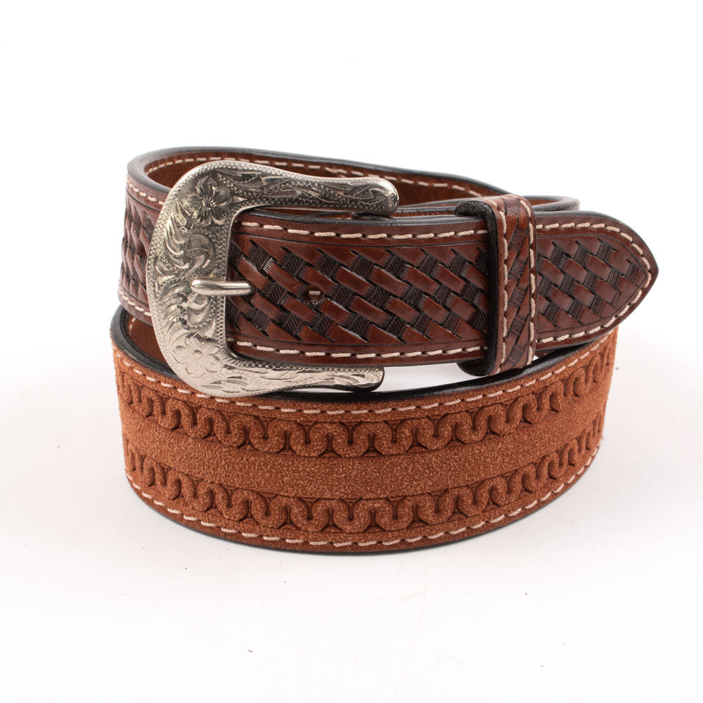 Twisted X Roughout Tapered Brown Belt MEN - Accessories - Belts & Suspenders Western Fashion Accessories Teskeys