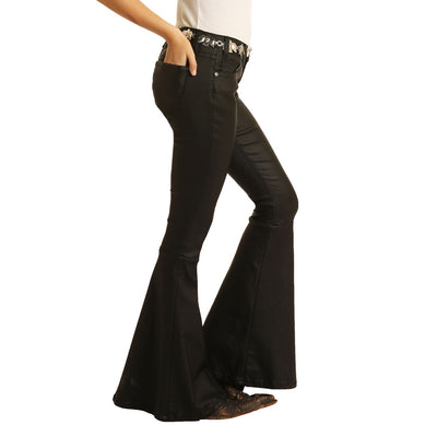 Rock and Roll Jr. Mid Rise Black Wash Flare Jeans WOMEN - Clothing - Jeans Panhandle Teskeys