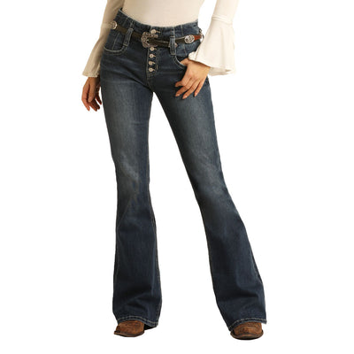 Rock n Roll Cowgirl Jr. High Rise Flare Belted Jean WOMEN - Clothing - Jeans Panhandle Teskeys