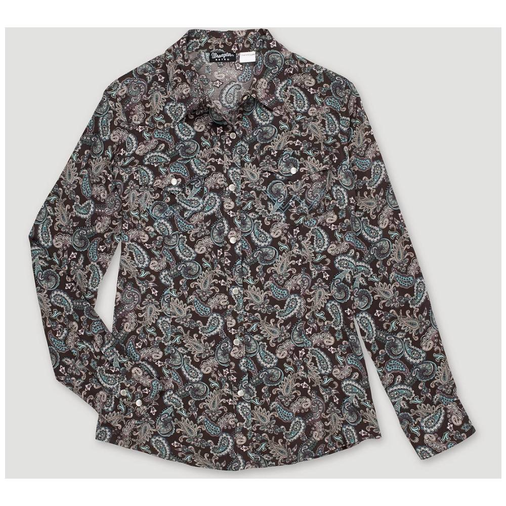 Wrangler Women's Paisley Print Long Sleeve Snap Shirt