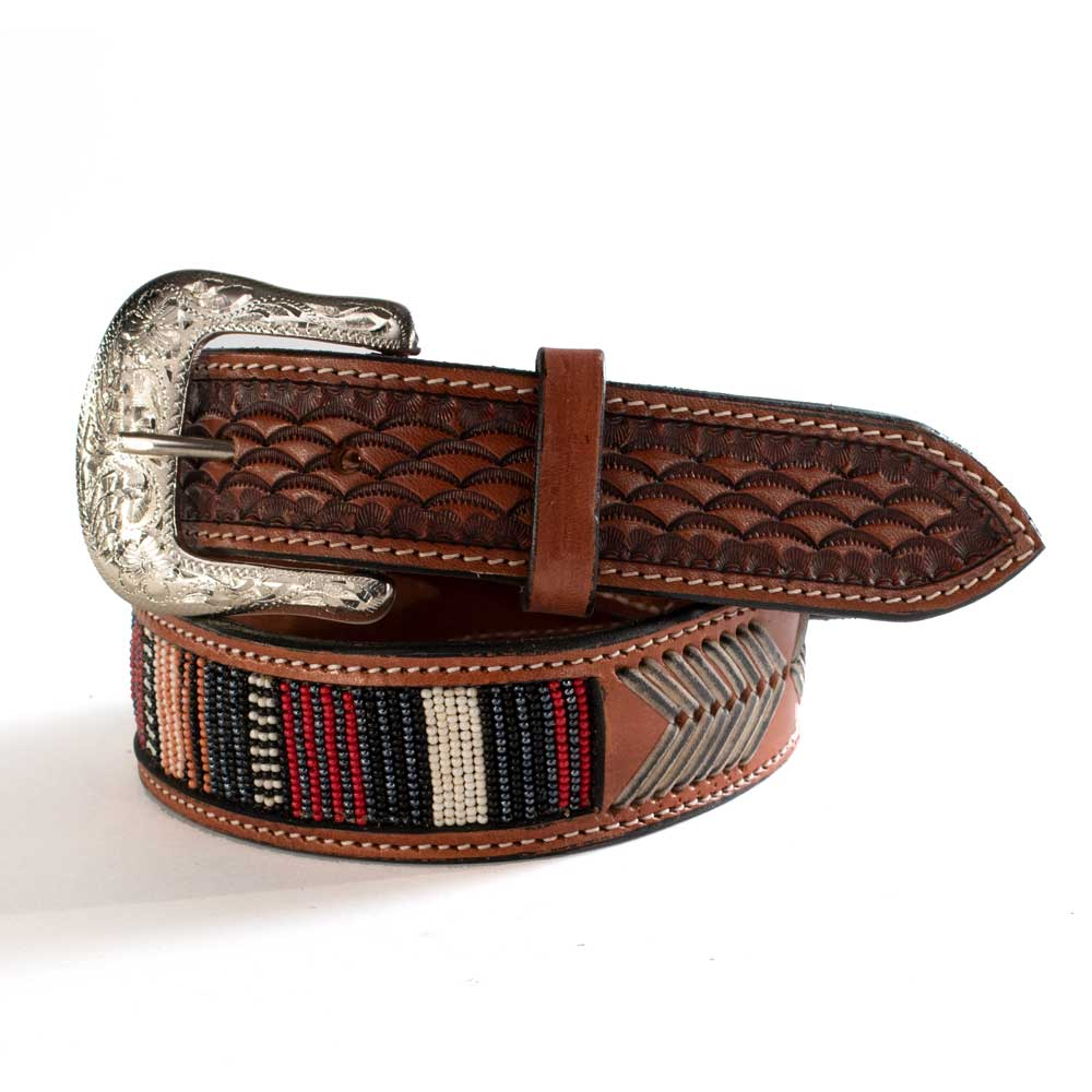 Twisted X Beaded Leather Arrow Belt MEN - Accessories - Belts & Suspenders WESTERN FASHION ACCESSORIES Teskeys