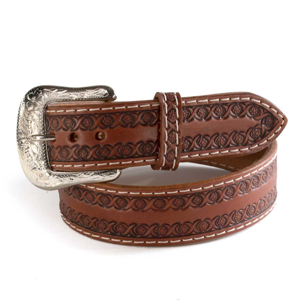 Twisted X Stitched Tooled Leather Belt MEN - Accessories - Belts & Suspenders WESTERN FASHION ACCESSORIES Teskeys