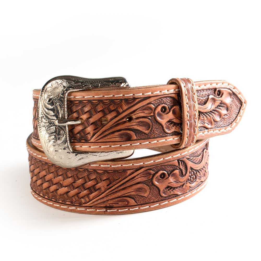 Basket & Floral Tooled Belt MEN - Accessories - Belts & Suspenders WESTERN FASHION ACCESSORIES Teskeys
