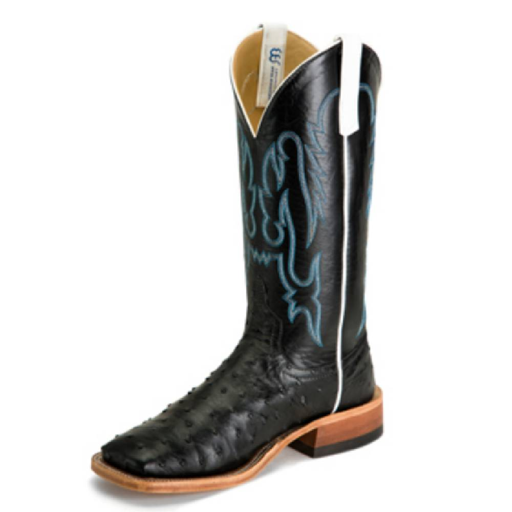 Anderson Bean Black Full Quill Ostrich Boot MEN - Footwear - Exotic Western Boots ANDERSON BEAN BOOT CO. Teskeys