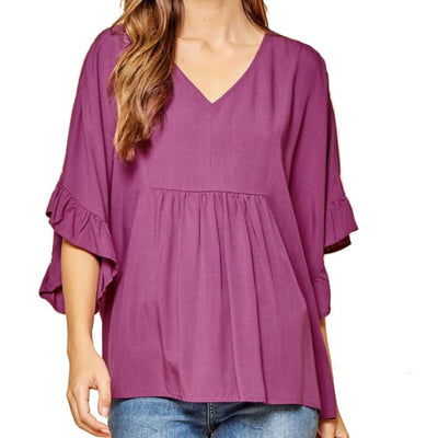Flowy Magenta Top WOMEN - Clothing - Tops - Short Sleeved ANDREE BY UNIT FASHION Teskeys