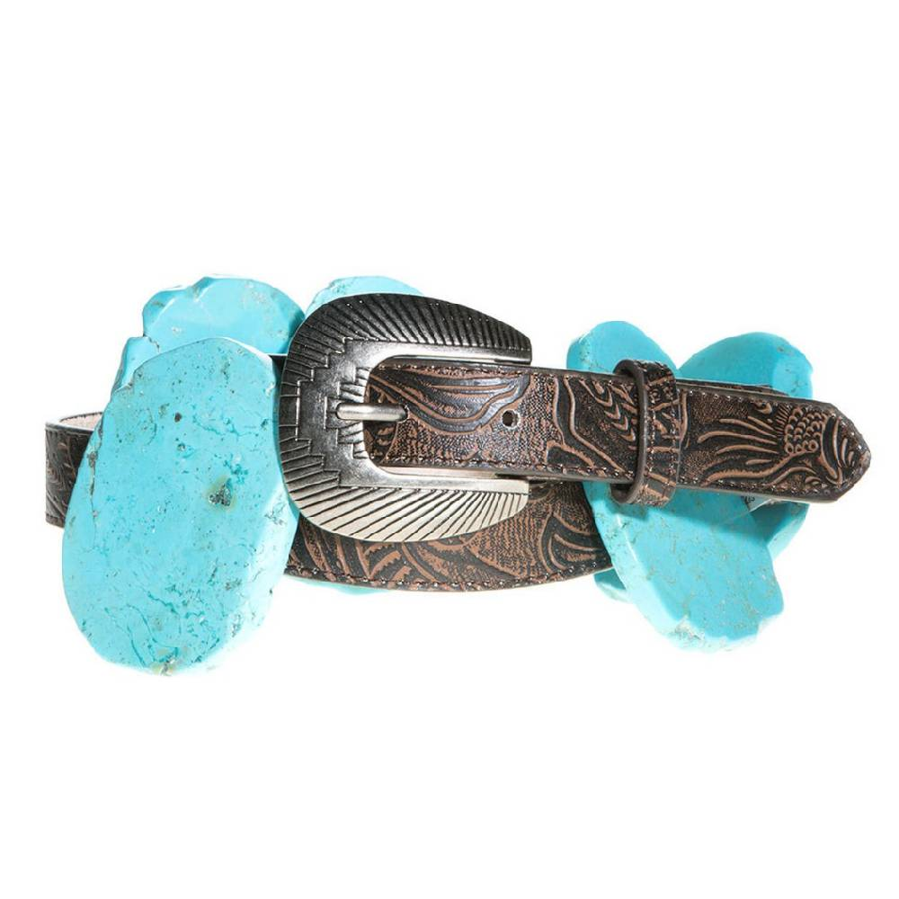 Angel Ranch Turquoise Slab Concho Belt WOMEN - Accessories - Belts M&F Western Products Teskeys