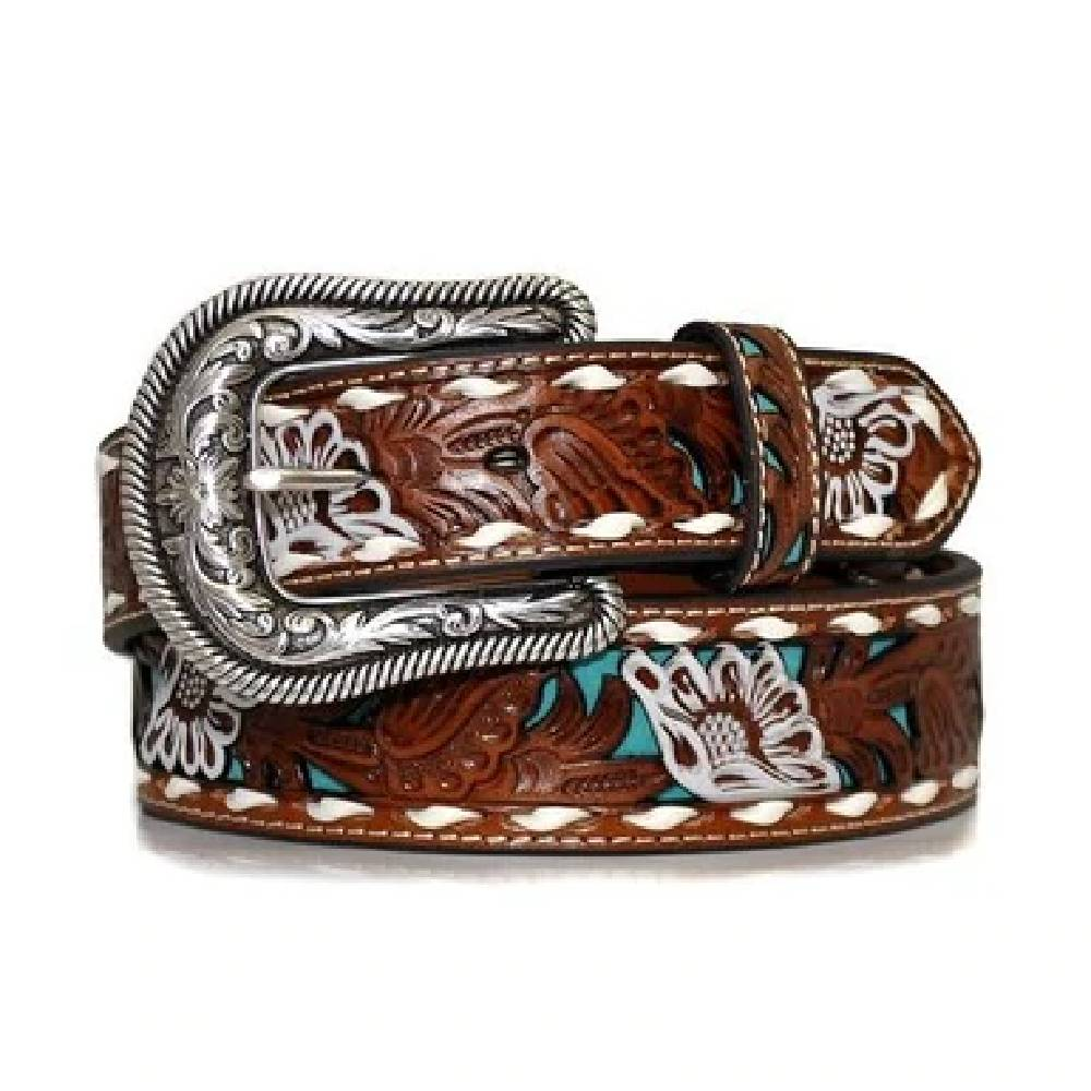 Nocona Floral Turquoise Inlay Belt WOMEN - Accessories - Belts M&F WESTERN PRODUCTS Teskeys