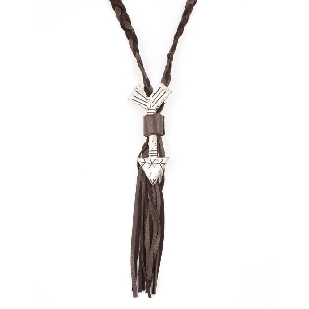 Arrow Leather Necklace with Fringe WOMEN - Accessories - Jewelry - Necklaces GYPSY JUNKIES Teskeys