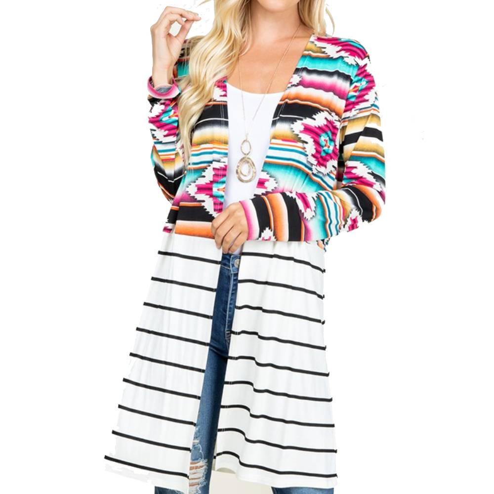 Aztec and Stripe Cardigan WOMEN - Clothing - Sweaters & Cardigans HEIMISH Teskeys