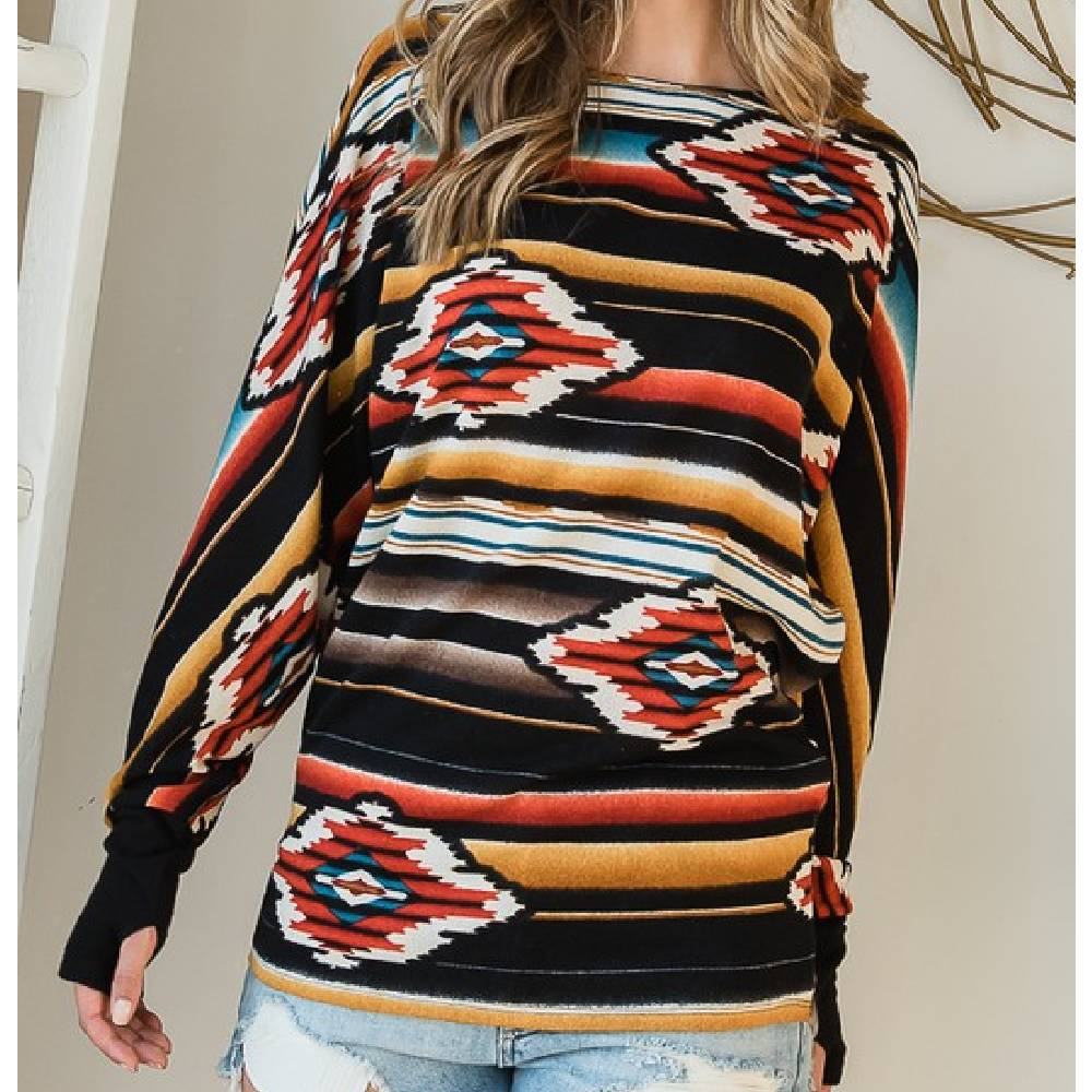 Aztec Dolman Sleeve Top WOMEN - Clothing - Tops - Long Sleeved First Love Teskeys