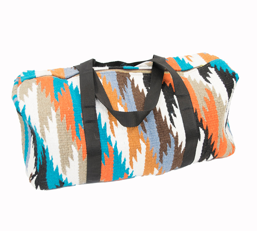 Aztec Woven Duffle - Turquoise ACCESSORIES - Luggage & Travel - Duffle Bags Teskeys Teskeys