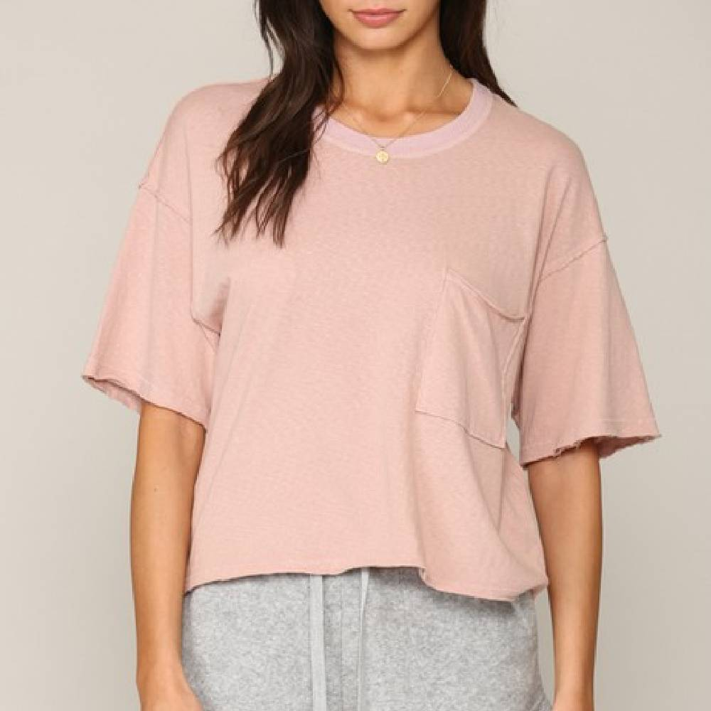 Mauve Boxy Jersey Tee WOMEN - Clothing - Tops - Short Sleeved BY TOGETHER Teskeys