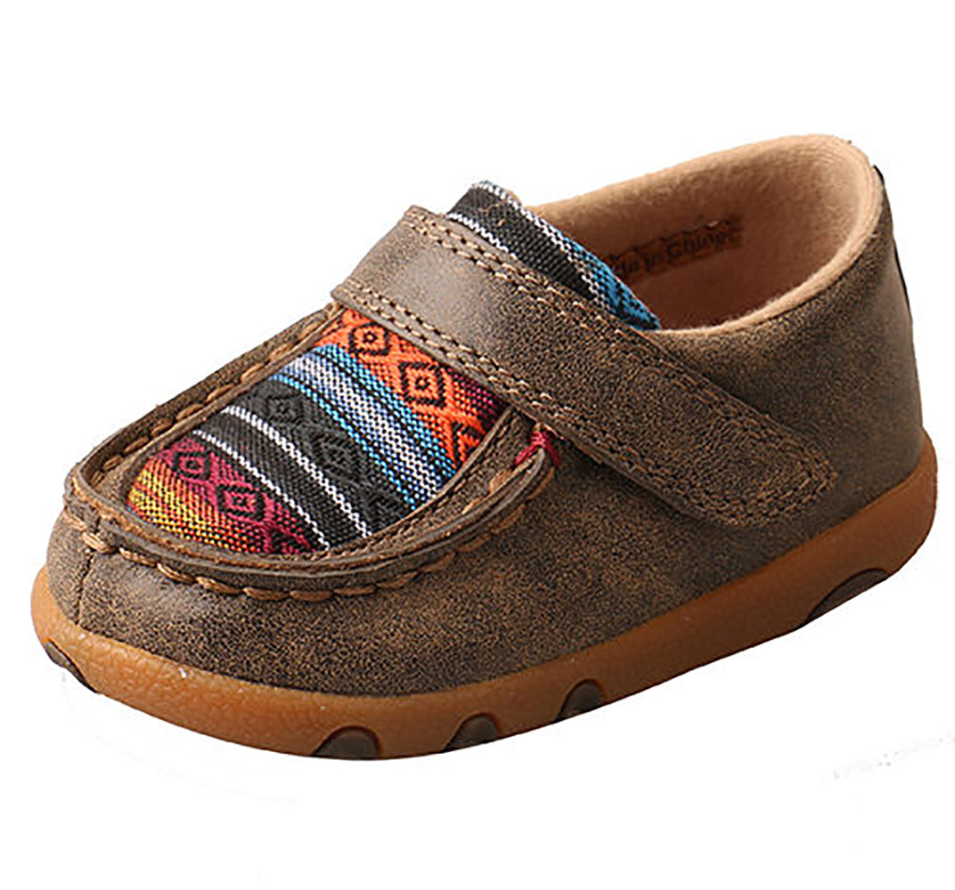 Twisted X Infant Brown Serape Velcro Moccasins