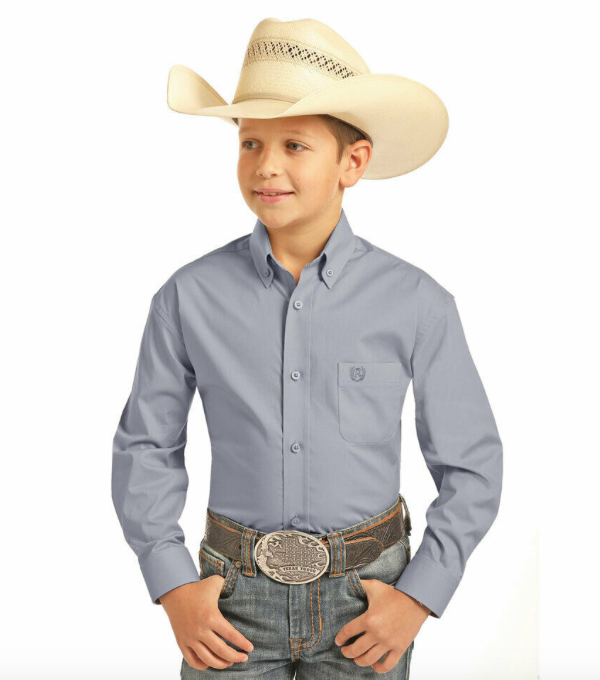 Panhandle Boys Solid Button Down Shirt-Multiple Colors KIDS - Boys - Clothing - Shirts - Long Sleeve Shirts PANHANDLE SLIM Teskeys