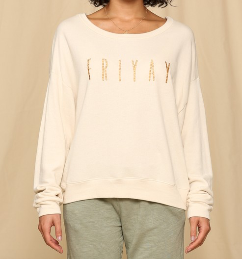 "The perfect sweatshirt for your favorite day of the week! ""FRIYAY"" WOMEN - Clothing - Sweaters & Cardigans BY TOGETHER Teskeys"