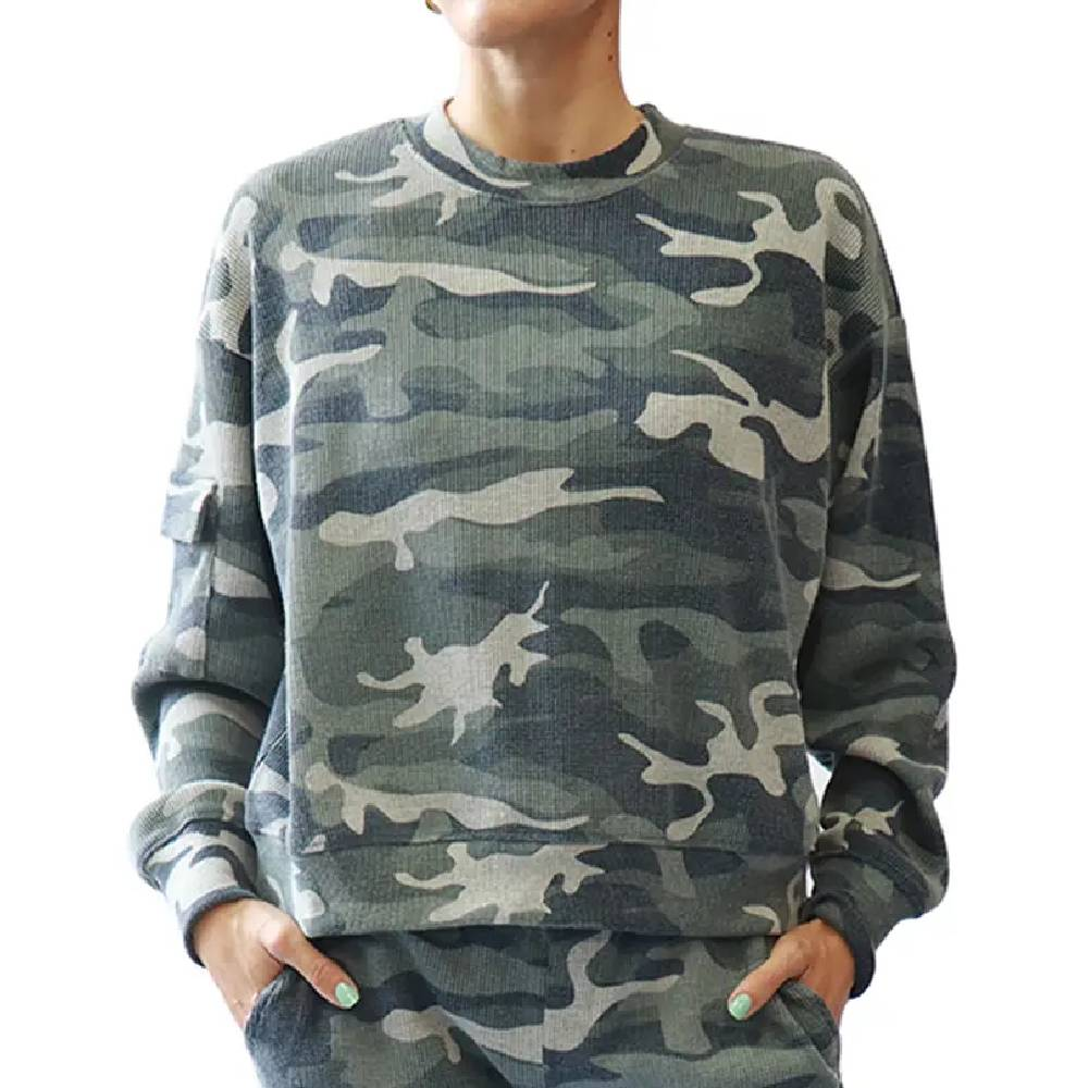 Camo Waffle Knit Crew Top WOMEN - Clothing - Tops - Long Sleeved RD INTERNATIONAL Teskeys
