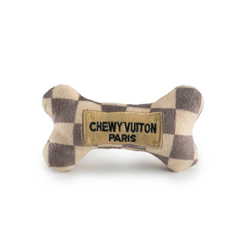 Small Checker Chewy Vuiton Bone Dog Toy FARM & RANCH - Animal Care - Pets - Toys & Treats HAUTE DIGGITY DOG Teskeys
