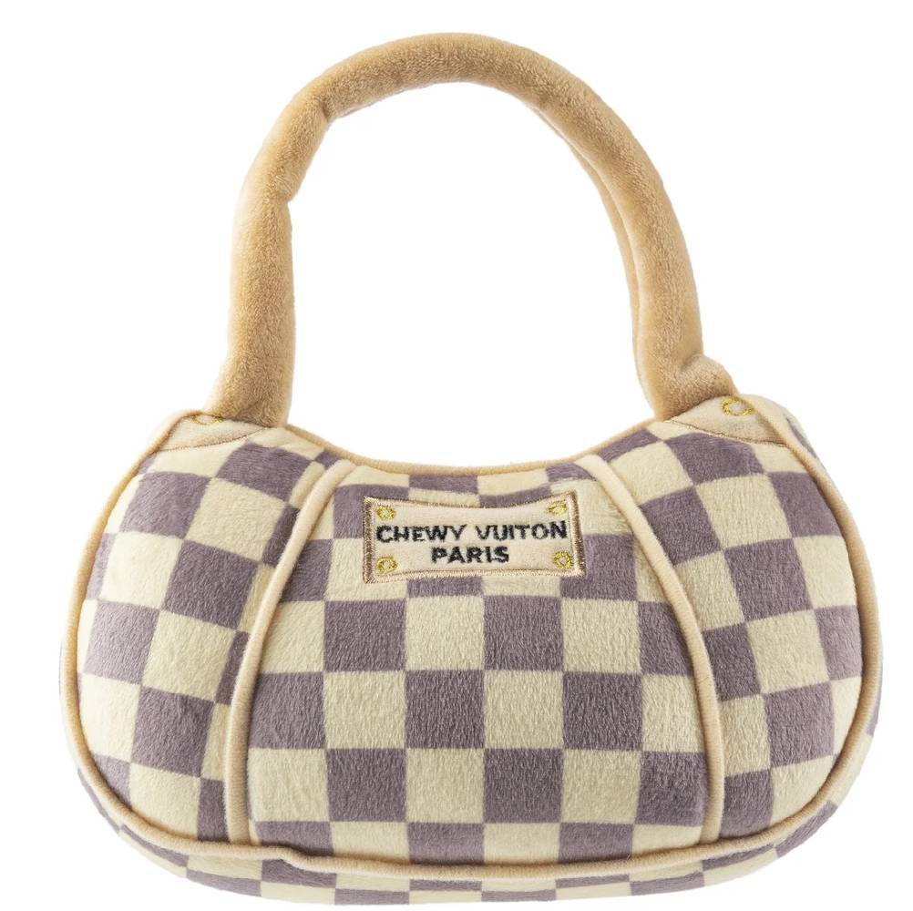 XL Checker Chewy Vuiton Purse Dog Toy FARM & RANCH - Animal Care - Pets - Toys & Treats HAUTE DIGGITY DOG Teskeys