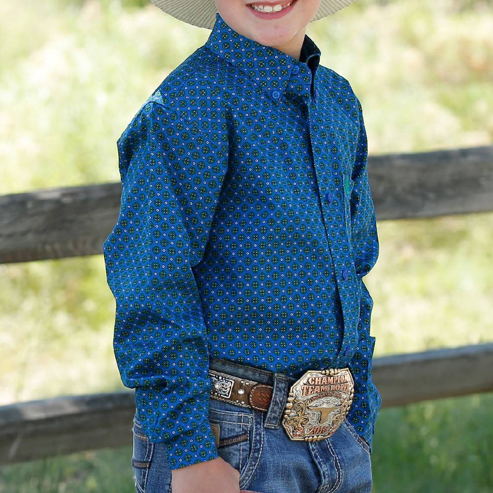 Cinch Boy's Print Button Down Shirt KIDS - Boys - Clothing - Shirts - Long Sleeve Shirts CINCH Teskeys