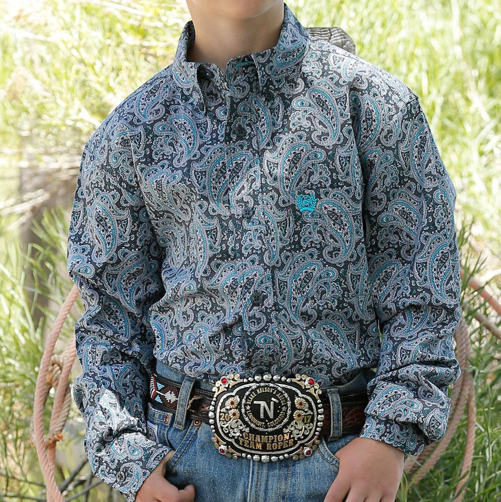 Cinch Boy's Paisley Print Button Down Shirt KIDS - Boys - Clothing - Shirts - Long Sleeve Shirts CINCH Teskeys