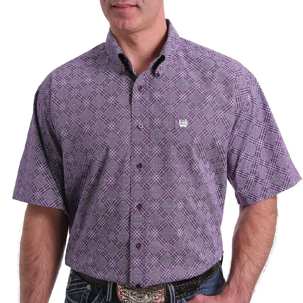 Cinch Diamond Print Button Down Shirt MEN - Clothing - Shirts - Short Sleeve Shirts CINCH Teskeys