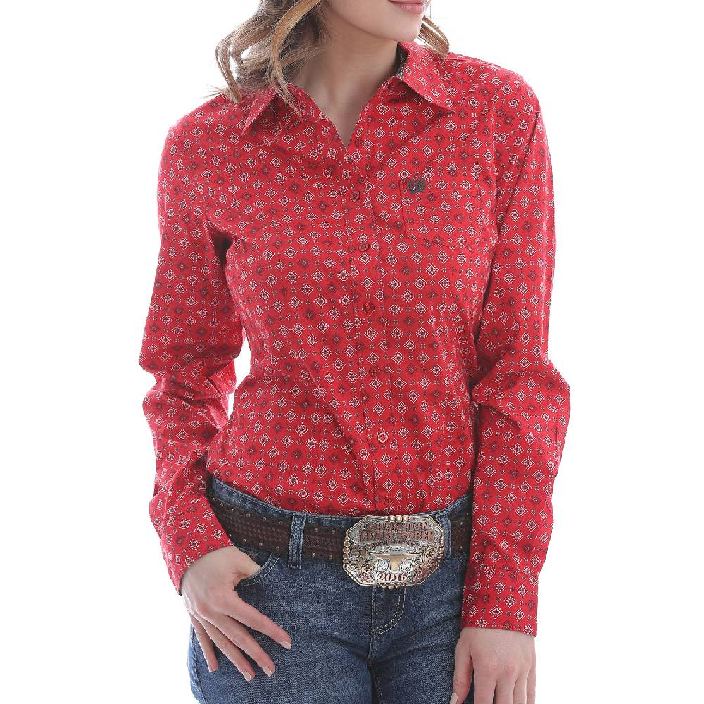 Cinch Women's Geo Print Button Up Shirt