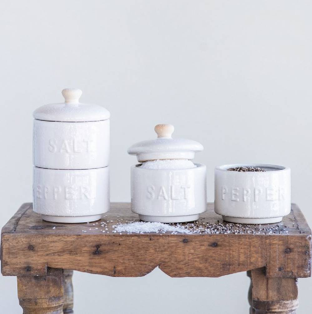 Stoneware Stackable Salt & Pepper Pots HOME & GIFTS - Tabletop + Kitchen - Kitchen Decor Creative Co-Op Teskeys