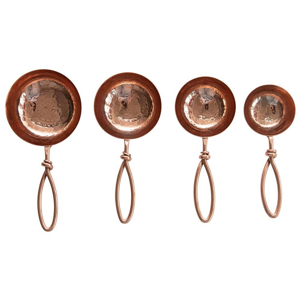 Hammered Steel & Copper Scoops - Set of 4 HOME & GIFTS - Tabletop + Kitchen - Serveware & Utensils Creative Co-Op Teskeys